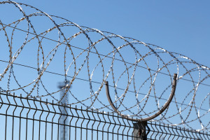 Спиральный барьер безопасности Егоза Стандарт на металлическом заборе