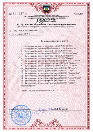 Addition to the certificate of conformity of the Department of Security Police DCP ZOP.1.1O071.0001-18 with a list of products