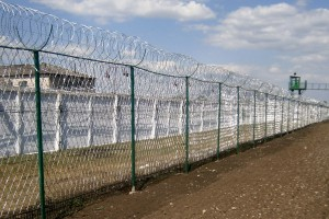 Barbed mesh fence and Egoza spiral barrier
